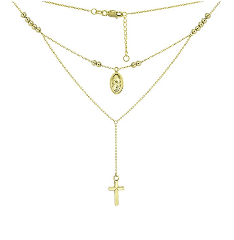 14K Yellow Gold Stackable Rosary Necklace Adjustable 16