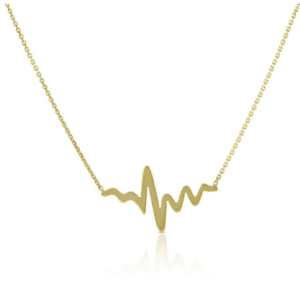 "14K Yellow Gold Heart Beat Necklace Set Available Lengths 16"" 18"" Front View"