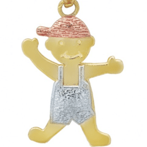 14K Tricolor Child Pendant Solid Gold Little Boy Baby Children Mother's Day