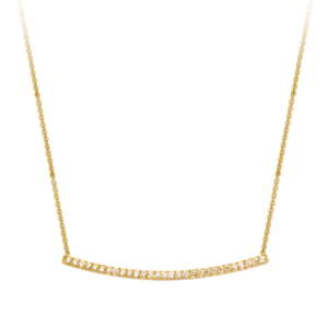 """Curved 0.20 carat diamond bar necklace available14K yellow gold in 16"""" and 18"""" length"""