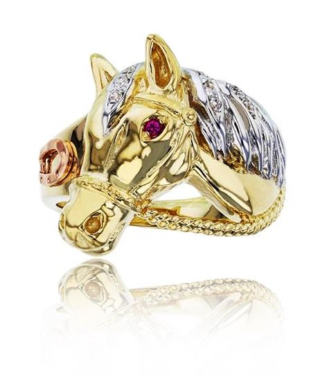 14K Gold Tri-Color Horse Head Ring