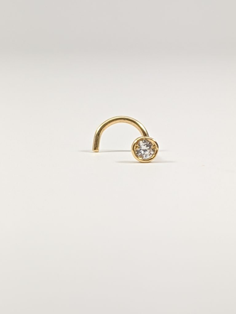 18K Yellow Gold Stud Nose Piercing with genuine white cubic Zirconia c/z