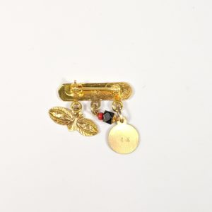 """14K Yellow Gold """"Dios Me Bendiga"""" Pin Brooch With Hanging Genuine Black Azabache Red Coral Ojos de Santa Lucia Eyes and Saint Medal Rear View"""
