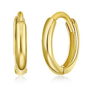 14K Yellow Gold Huggie Hoop Earrings Small Pair Plain High Polished