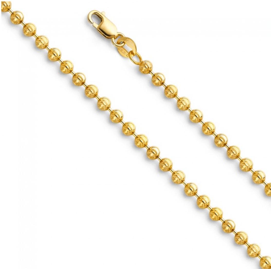 14K Yellow Gold Diamond Cut Moon Ball Bead Chain MM Lock