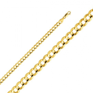 14K Yellow Gold Cuban Italian Curb Link Chain Necklace Concave MM