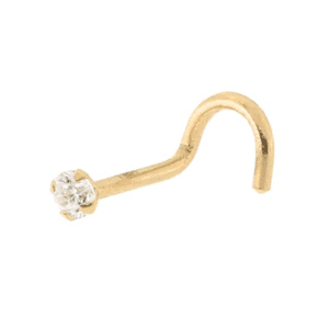 14K Yellow Gold Stud Nose Piercing with Genuine White Cubic Zirconia c/z Side View MM