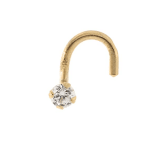 14K Yellow Gold Stud Nose Piercing with Genuine White Cubic Zirconia c/z Front View MM