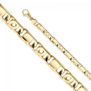 14K Yellow Gold Tiger Eye Bar Link Chain Ojo de Perdiz Fancy Italian Chain