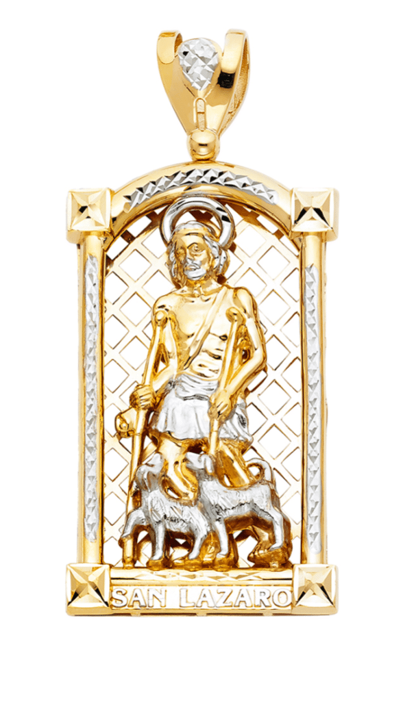 Solid 14K Yellow Gold San Lazaro Medal Saint Lazarus Pendant Hip Hop Jewelry