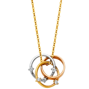 14K Yellow, White, Rose Gold Trinity Ring Necklace Chain with Genuine White Cubic Zirconias C/Z