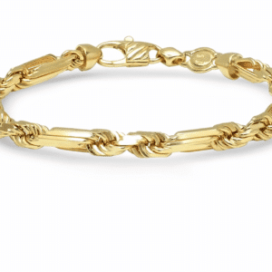 14K Yellow Gold Melano Rope Chain Necklace Bracelet Solid Figaro Rope MM