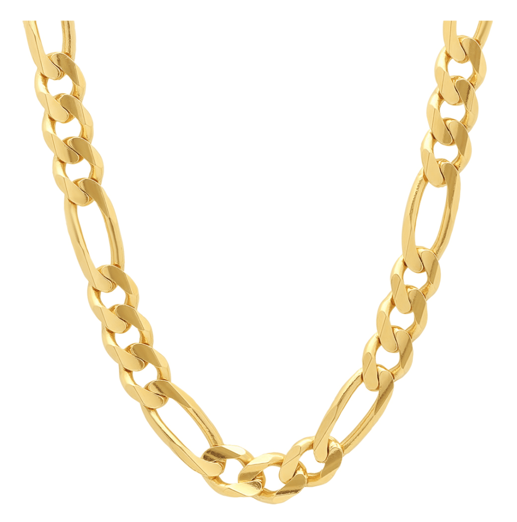 18K Yellow Gold Figaro Chain Necklace Italian Think Solid MM