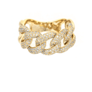 14K Yellow Gold Pave Diamond Miami Cuban Link Ring Iced Out Hip Hop