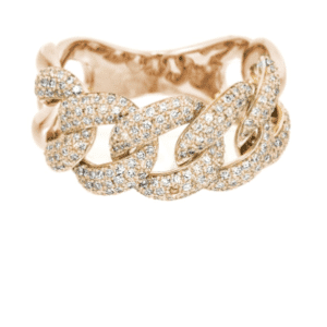 14K Rose Gold Pave Diamond Miami Cuban Link Ring Iced Out Hip Hop