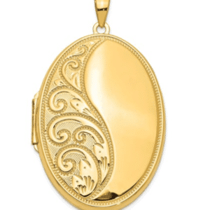 14K Yellow Gold Large Locket Pendant xl216 Front View