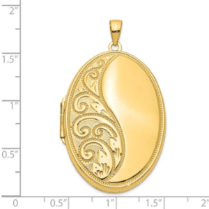14K Yellow Gold Large Locket Pendant xl216 Scale View