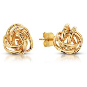 14K Yellow Gold Double Love Knot Stud Tube Earrings with Pushbacks
