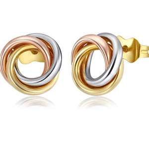 14K Tri-Color Love Knot Earrings Stud Push back Side View