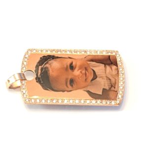 14K Rose Gold Dog Tag Photo Pendant with Cubic Zirconias Custom Design Side View