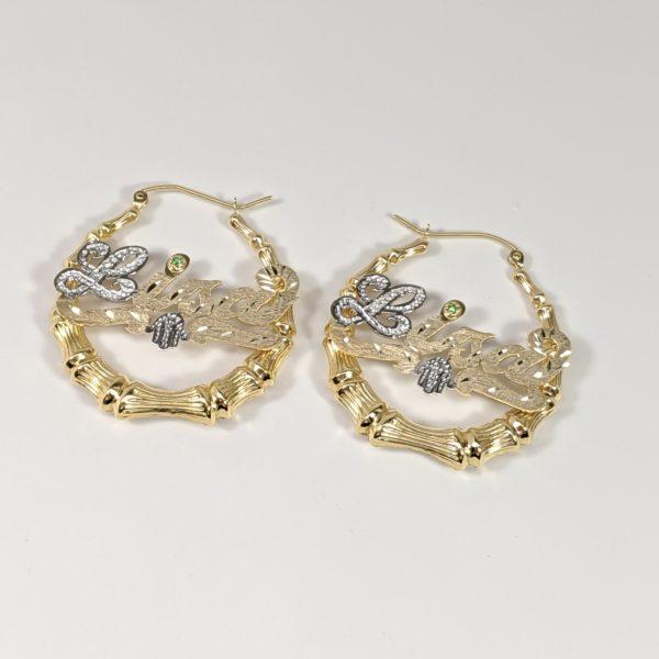 056c9a146 14K Yellow Gold Bamboo Hoop Earrings Hip Hop Jewelry Nameplate Earrings  Hamsa