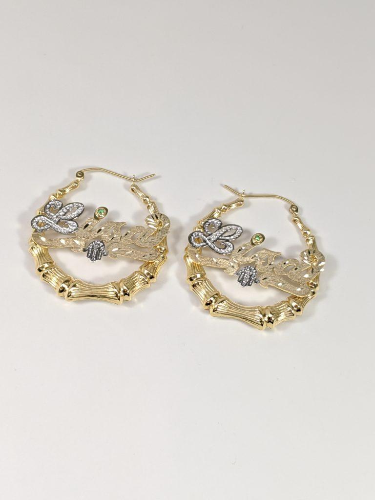 14K Yellow Gold Bamboo Hoop Earrings Hip Hop Jewelry Nameplate Earrings Hamsa