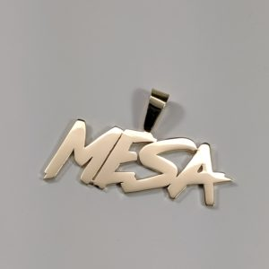 14K Yellow Gold Solid Heavy Hip Hop Rapper Name Pendant Nameplate Design Customize Front View