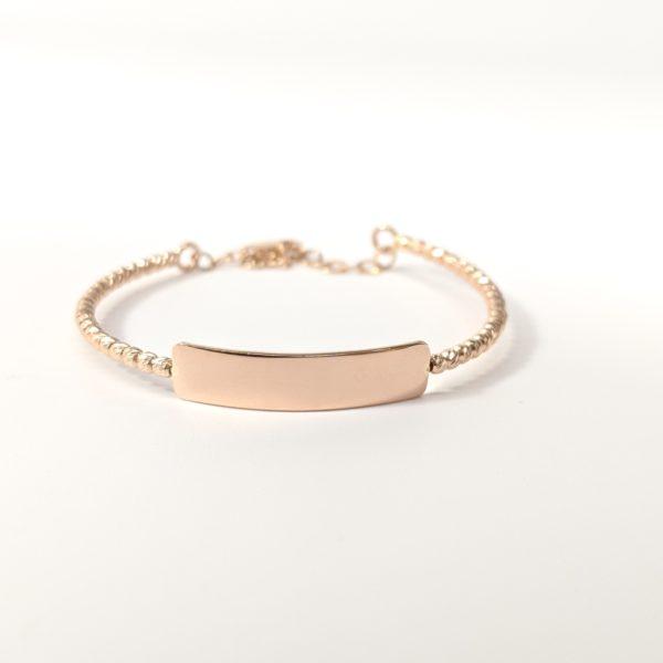 14k Rose Gold Baby I D Bangle Bracelet