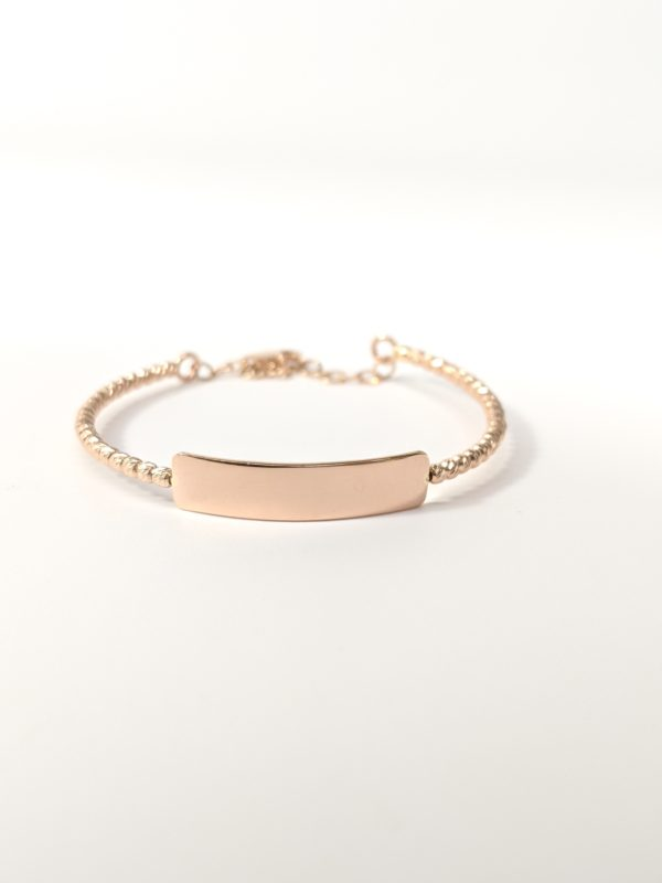 14k Rose Gold Baby I D Bangle Bracelet