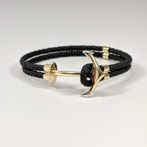 14K Yellow Gold Leather Rubber Twisted Braided Cord Anchor Bracelet