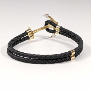 14K Yellow Gold Leather Rubber Twisted Braided Cord Anchor Bracelet Rear View