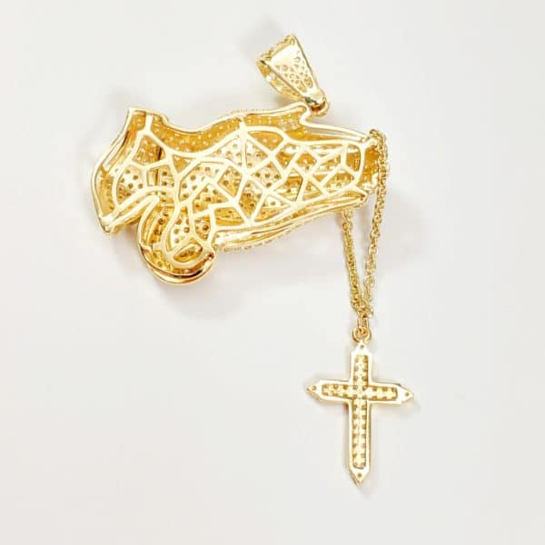 14K Yellow Gold Rosary Prayer Cross Necklace