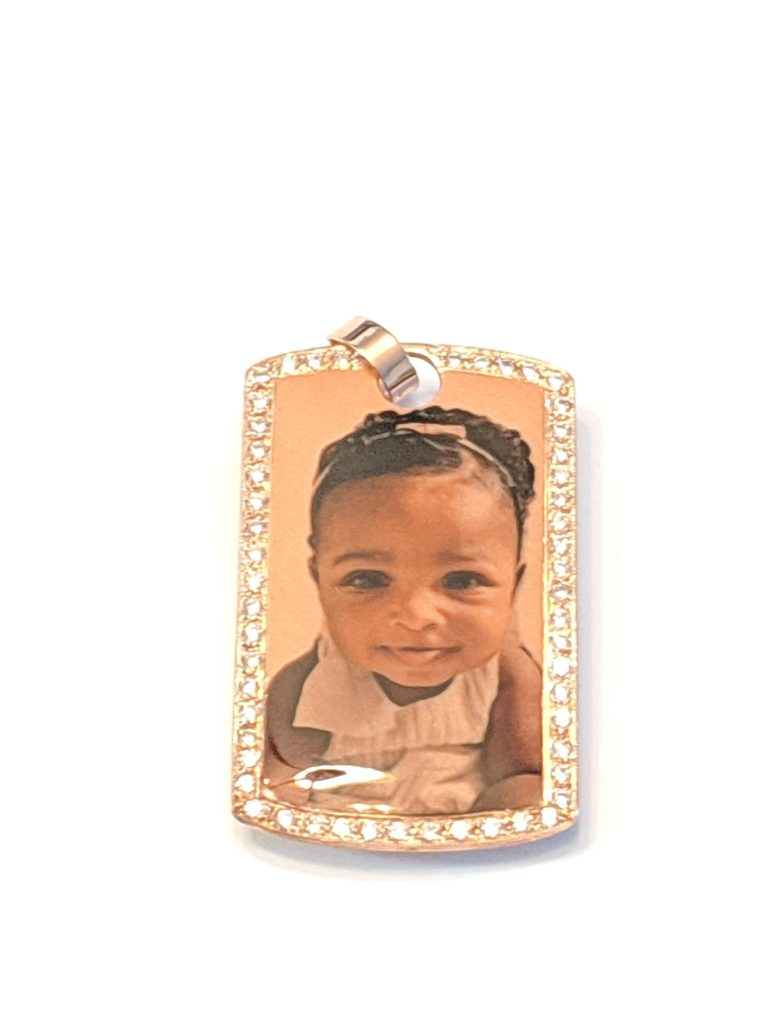 14K Rose Gold Dog Tag Photo Pendant with Cubic Zirconias Custom Design