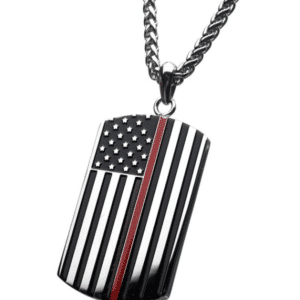 Thin Red Line American Flag Firefighter Military Style Dog Tag Enamel Pendant with Wheat Chain Stainless Steel Angle View