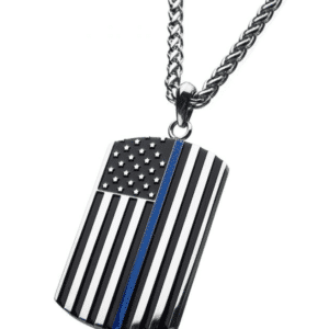"Thin Blue Line American Flag Police Officer Military Style Dog Tag Enamel Pendant with Wheat Chain 24"" Angle View"