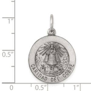 Sterling Silver Caridad Del Cobre Medal 925 Antique Finish Quarter Size Scale View