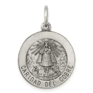 Sterling Silver Caridad Del Cobre Medal 925 Antique Finish Quarter Size Front View