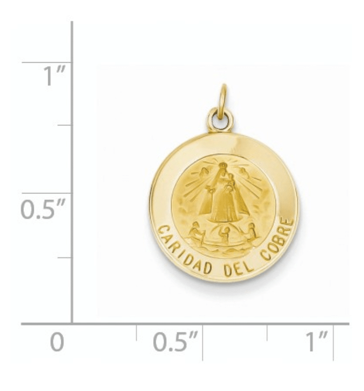 """14K Gold Caridad Del Cobre Medal Round Scale View .75"""" Length Solid"""