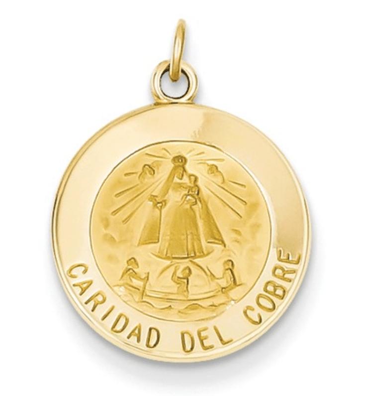 14K Gold Caridad Del Cobre Medal Round Front View .75