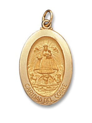 14K Yellow Gold Oval Caridad Del Cobre Medal Front View 1-1/8 Inch Length Solid