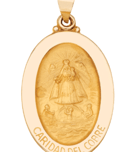 14K Yellow Gold Oval Caridad Del Cobre Medal Front View 1-1/4 Inch Length Hollow