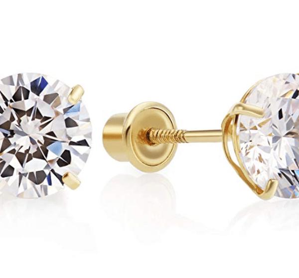 14k Gold Round Cubic Zirconia Stud Earrings