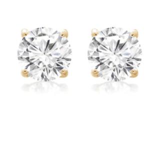 14K Yellow Gold Round Cubic Zirconia Stud Earrings
