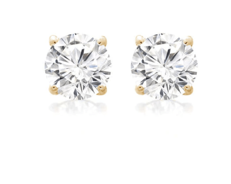 14K Yellow Gold Round Cubic Zirconia Stud Earrings