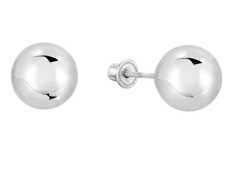 f2fd0451a 14K White Gold Ball Stud Earrings with Secure Screw-backs Dormilona 7mm 8mm