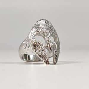 14K White Yellow Rose Gold 18K Spartan Helmet Ring with VS Diamonds VVS Hip Hop Rapper
