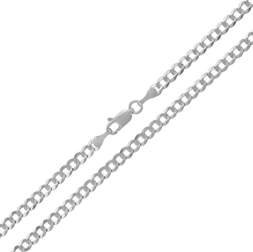 14K White Gold Cuban Italian Curb Link Chain Necklace Concave MM