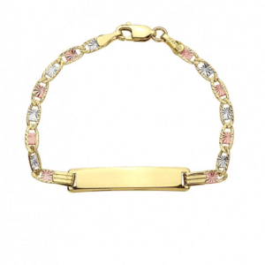 Solid 14K gold Valentino Link Styled Baby I.D. Bracelet Identification New Born Engravable