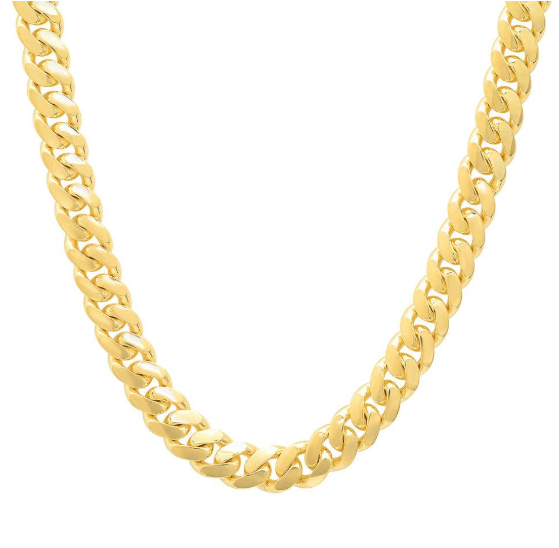 14K Yellow Gold Miami Cuban Link Chain 11MM Hip Hop Rapper DJ