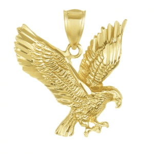 14K Yellow Gold American Bald Eagle Pendant Solid Small Size